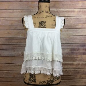 Forever 21 Small White Layered Crop Top Lace Trim